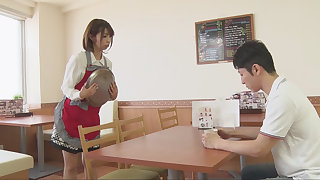 Japanese charwoman is sucking customer's cock