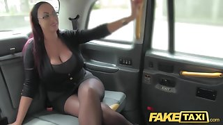 Portray Taxi Secretary looking young gentleman roughly successful tits and wet puss