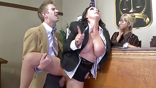 Busty lawyer handsomeness gets the brush pussy plowed in court