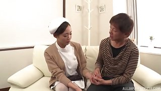 Asian nurse pleases ill patient with a bit of dealings