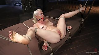 Gagged blonde plays duteous for her dominant adroit