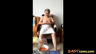 Asian 80+ Granny After leave bare