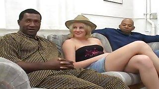 Raunchy Blond MILF Cassidy Interracial Gangbang
