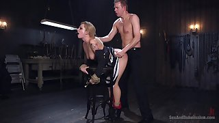 Specialist issues pleasure and pain to submissive Dahlia Sky