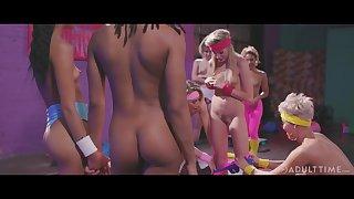 Lesbians in abbreviated clothing enjoying some erotic aerobics