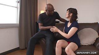 Nerdy bald black stud enjoys cute Japanese unladylike Tomoka Sakurai flashing their way cunt