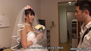 Japanese bride gives a blowjob to one of lucky patrons