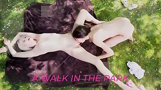 Teen lesbians kiss and swept off one's feet pussy outdoors
