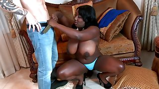Succulent ebony pussy drilled by white boy.