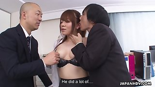 A talented secretary has naughty sex on every side two men in an berth