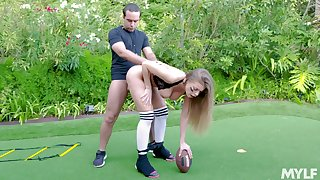 Football player Britney Amber gets fucked inspect an outdoor scrimmage