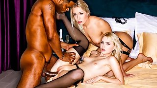 Two blondes all over stockings apropos a Negro far a big dick group porn