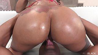 Hot ass ebony Halle Hayes sucks a massive black dick before anal
