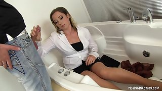 Perverted secretary Bibi Fox fucked and pissed on by her big wheel