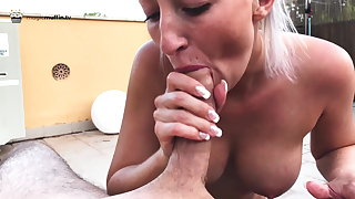 I allude and suck his cock until he squirts into my pussy