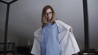 Sensual shafting on the bed involving a natural boobs nurse coupled with will not hear of patient
