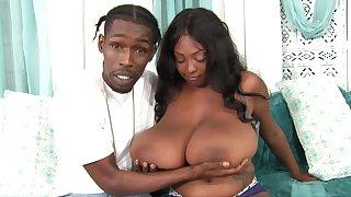 Ebony BBW Rachel Raxxx takes cumshots beyond everything giant natural boobs