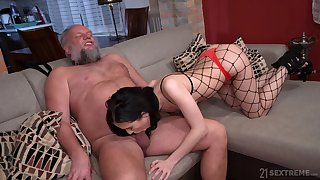 Bearded pervert is happy just about lick pussy of gal in fishnet underpants Nikki Fox