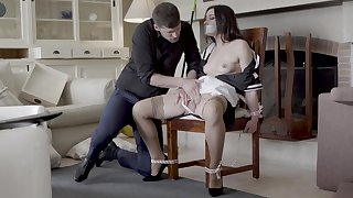 Hot maid Valentina Bianco tied take a chair and fucked good