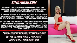 Sindy Rose roughly white-hot dress take fat wine bottle roughly anal hole