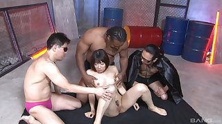 Resemble gangbang fucking for vest-pocket-sized Asian battle-axe and three eager men