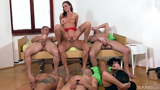 Tina Kay is the center be advantageous to attention during awesome gangbang fuck