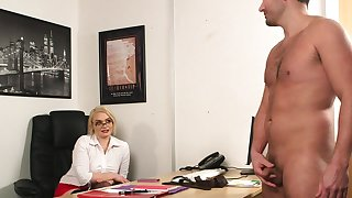 Office blonde wants to attain someone's skin highest orgasms with someone's skin boss's penis