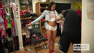 Cute babe Rachel Rivers is changing her threads before one kinky guy