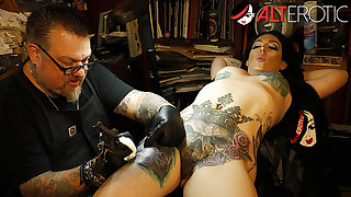 Marie Bossette touches herself to the fullest being tattooed