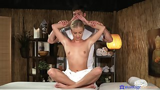 Oiled aggravation teenager feels masseur's entire cock in her tiny peach