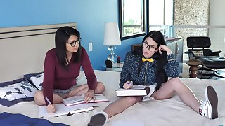 Nerdy young babes are ready for a nasty round of home threesome