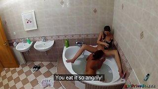 Lesbians Wash Each Other's Soaking Pussies Alongside The Bathtub