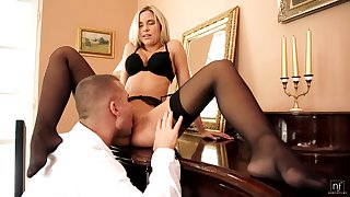 Cum at bottom tits success for seductive Dido Angel at hand unmentionables and stockings