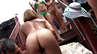 Wild outdoors group sex line relative to couple of cum loving babes