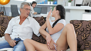 DADDY4K. Darkhaired Babe satisfies will not hear of prurient needs using fornicate